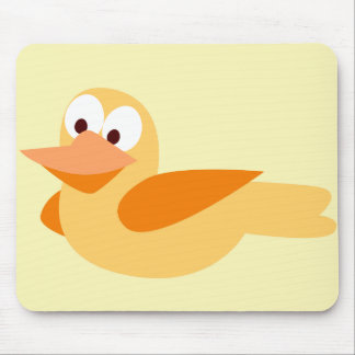 Infantile drawing funny duck flying mouse pad
