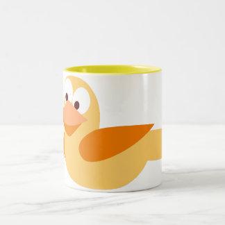 Infantile drawing funny duck flying mug