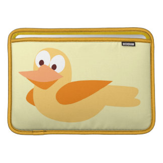 Infantile drawing funny duck flying sleeves for MacBook air