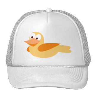 Infantile drawing funny duck flying trucker hat