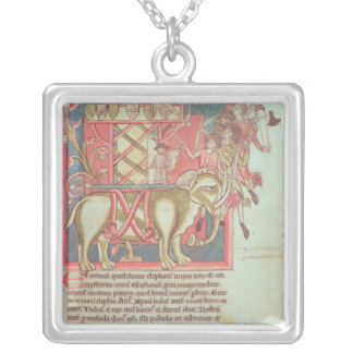 Infantry attacking an elephant silver plated necklace