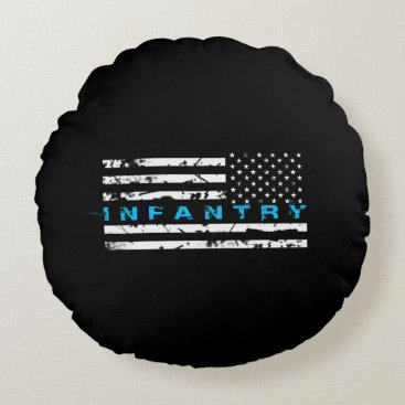 Infantry Blue - Flag Round Pillow