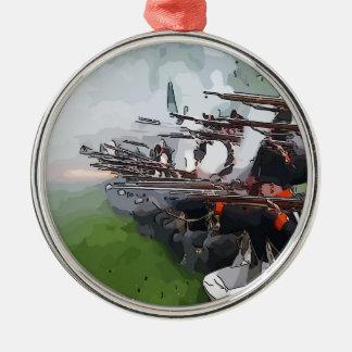 Infantry Firing Muskets Metal Ornament