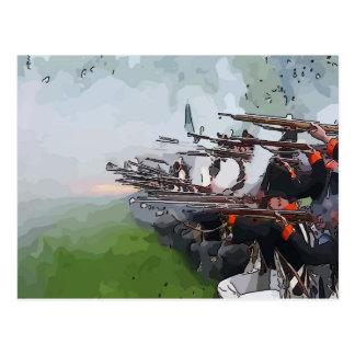 Infantry Firing Muskets Postcard