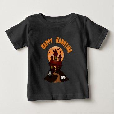 Beach Themed Infant's Black Happy Haunting Halloween Tshirt