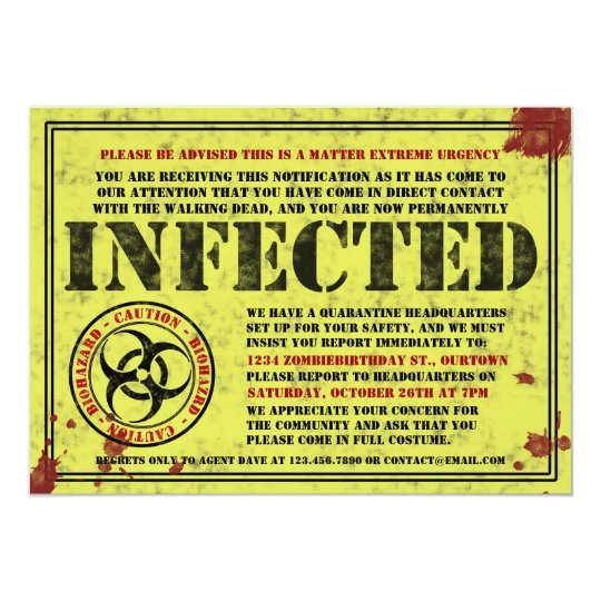 Infected Notice Zombie Birthday Party Invitations Zazzlecom