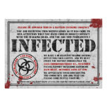 Infected Notice Zombie Birthday Party Invitations