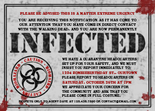 Walking dead invitations zazzle infected notice zombie birthday party invitations filmwisefo