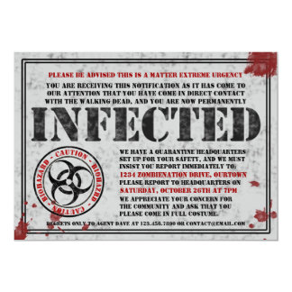 infected notice zombie halloween party invitations - Zombie Halloween Invitations