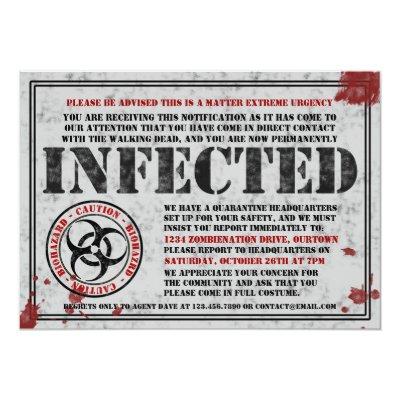 infected zombie halloween invitation | zazzle, Party invitations