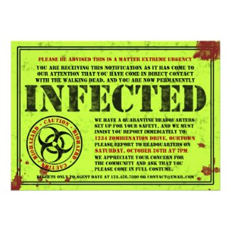 Infected Notice Zombie Halloween Party Invitations