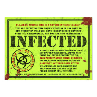 """Infected Notice Zombie Halloween Party Invitations 5"""" X 7"""" Invitation Card"""