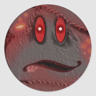 infected smiley classic round sticker