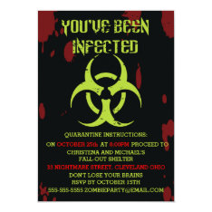 Infected Zombie Halloween Invitation at Zazzle