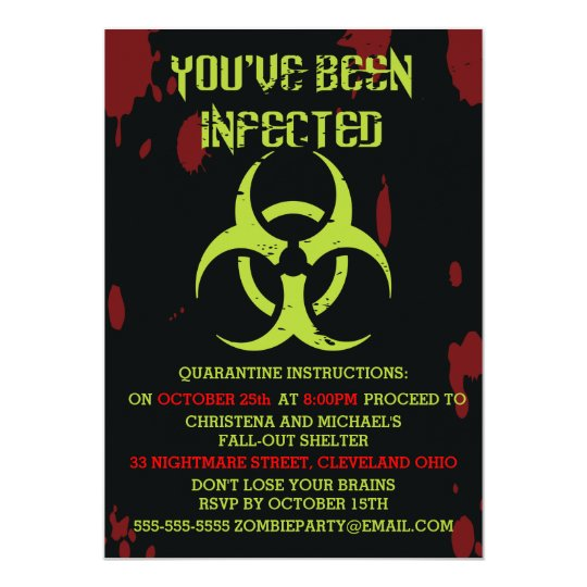 infected zombie halloween invitation - Zombie Halloween Invitations