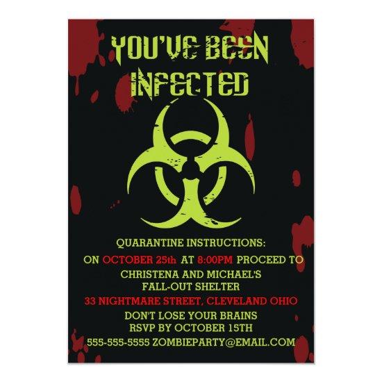 Infected Zombie Halloween Invitation
