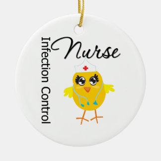 Infection Control Nurse Chick v1 Double-Sided Ceramic Round Christmas Ornament