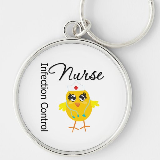 Infection Control Nurse Chick v1 Silver-Colored Round Keychain
