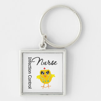 Infection Control Nurse Chick v1 Silver-Colored Square Keychain