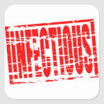 Infectious red rubber stamp effect square sticker