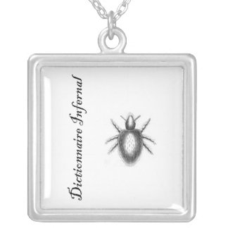 Infernal Dictionary-demon? tick? flea? Silver Plated Necklace