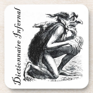 Infernal Dictionary - imp looking a bit nervous Beverage Coaster