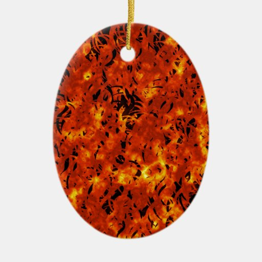 Inferno Double-Sided Oval Ceramic Christmas Ornament