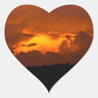 Inferno Sunset Heart Sticker