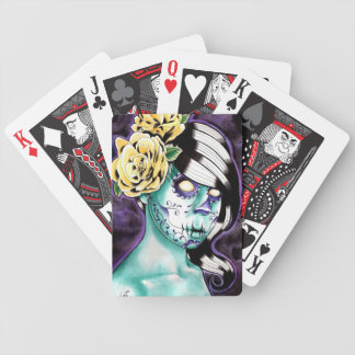 Infested Sugar Skull Girl Bicycle Playing Cards