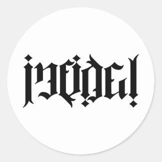 Infidel Ambigram Classic Round Sticker