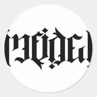 Infidel Ambigram Round Sticker
