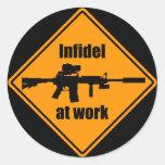 Infidel at Work Round Sticker