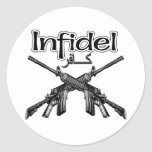 Infidel in English and  Arabic Round Stickers