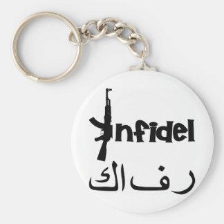 Infidel w AK-47 Basic Round Button Keychain