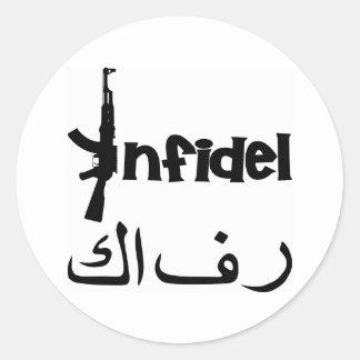 Infidel w AK-47 Classic Round Sticker