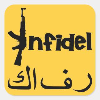 Infidel w AK-47 Square Sticker