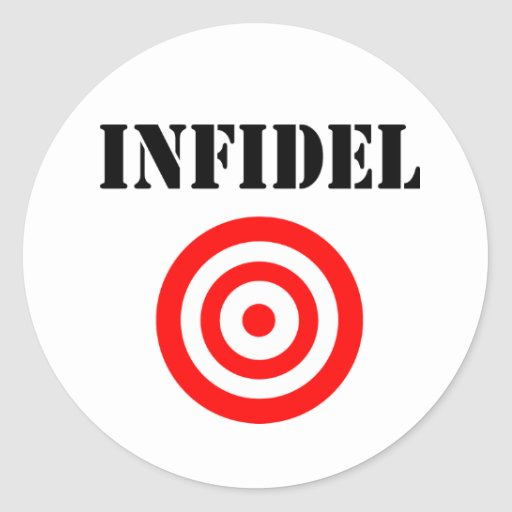 Infidel (with target) round stickers
