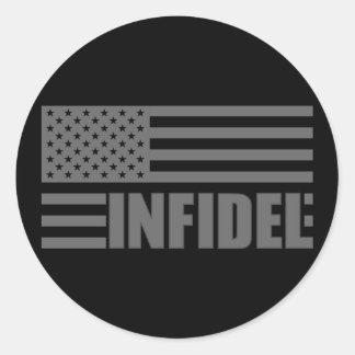 Infiel americano etiquetas redondas
