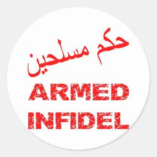 Infiel armado del árabe pegatina redonda