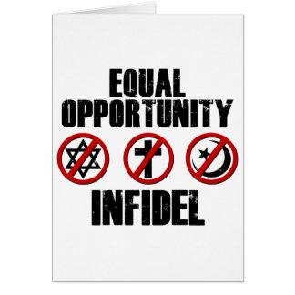 Infiel de la igualdad de oportunidades tarjeta de felicitación