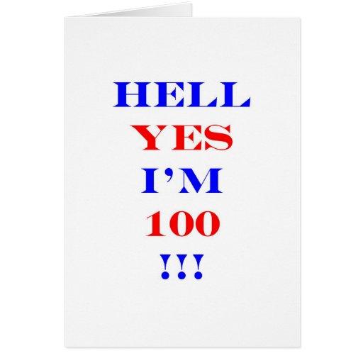 Infierno 100 sí tarjeta de felicitación