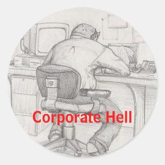 Infierno corporativo pegatina redonda