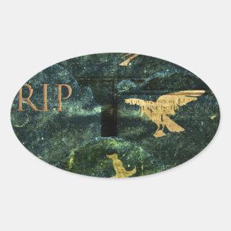 Infierno de la lápida mortuaria pegatina ovalada