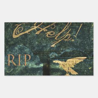 Infierno de la lápida mortuaria pegatina rectangular