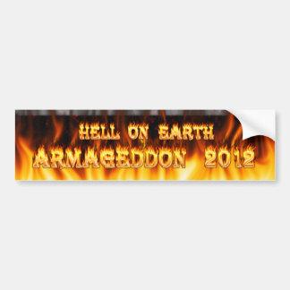 Infierno en el fuego y las llamas de la tierra pegatina de parachoque
