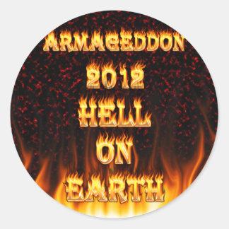 Infierno en el fuego y las llamas de la tierra pegatina redonda