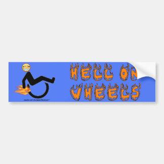 Infierno en las ruedas pegatina para auto