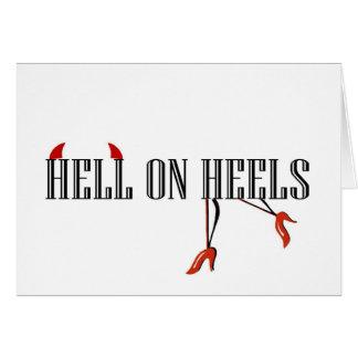 Infierno en los talones (piernas/cuernos) tarjeta de felicitación