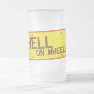 Infierno en productos de la matrícula de las taza de cristal