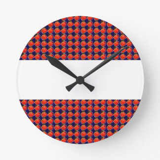 Infiniity Symbol Red BLANK strip add TEXT IMAGE 99 Round Wall Clocks